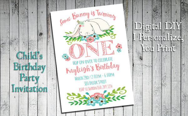 Printable Some Bunny Birthday Invitation, Girl's First Birthday - Personalized DIGITAL FILE - J & S Graphics