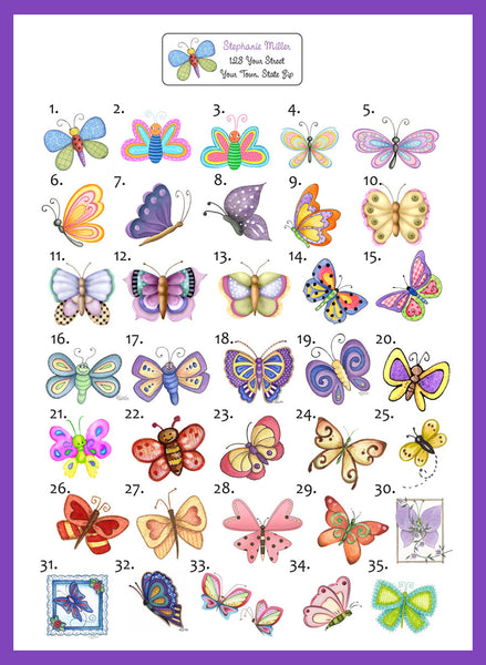 Personalized BUTTERFLY Return Address Labels, Butterflies - J & S Graphics