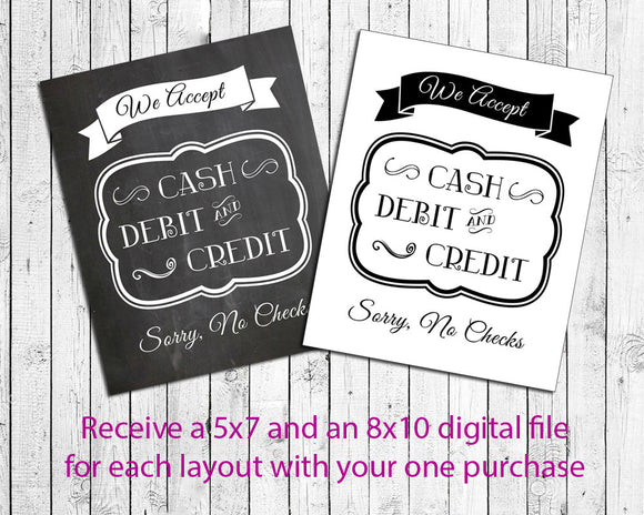 We Accept Cash, Debit and Credit, No Checks Instant Download Business Sign - J & S Graphics