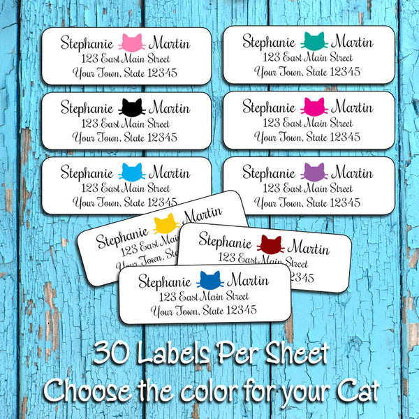 Cat Face Icon Personalized Return ADDRESS Labels - J & S Graphics