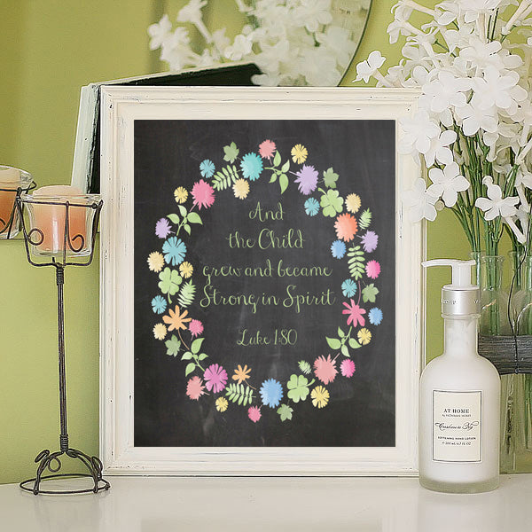 AND THE CHILD GREW AND BECAME STRONG IN SPIRIT Luke 1:80 Bible Wall Decor, Instant Download - J & S Graphics