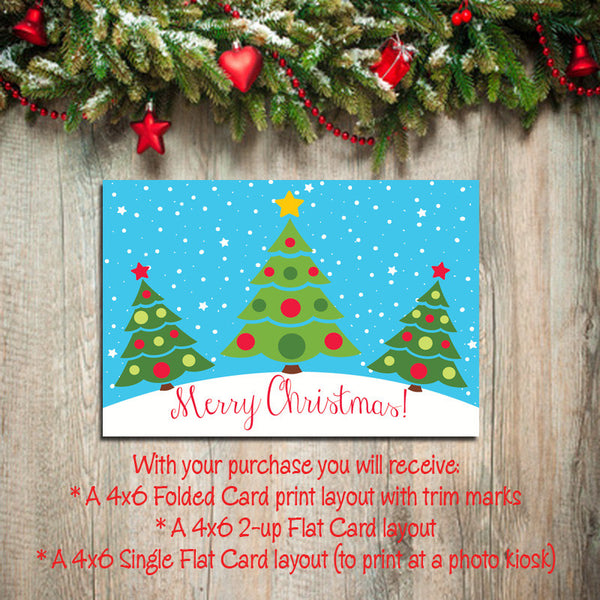 Digital Printable CHRISTMAS CARDS, DIY Instant Download, You Print, Christmas Tree Design - J & S Graphics