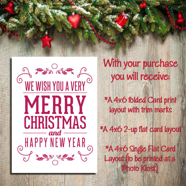 Digital Printable CHRISTMAS CARDS, DIY Instant Download, You Print, Merry - J & S Graphics