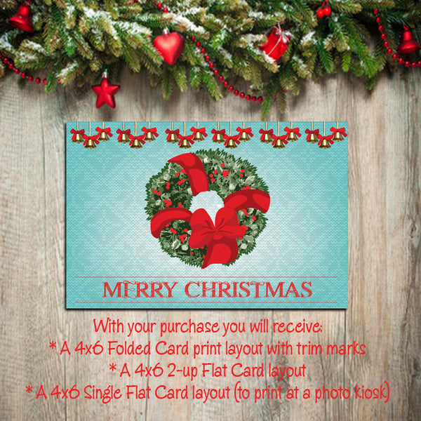 Digital Printable CHRISTMAS CARDS, DIY Instant Download, You Print, Wreath Design - J & S Graphics