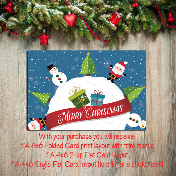 Digital Printable CHRISTMAS CARDS, DIY Instant Download, You Print, Santa & Snowman - J & S Graphics
