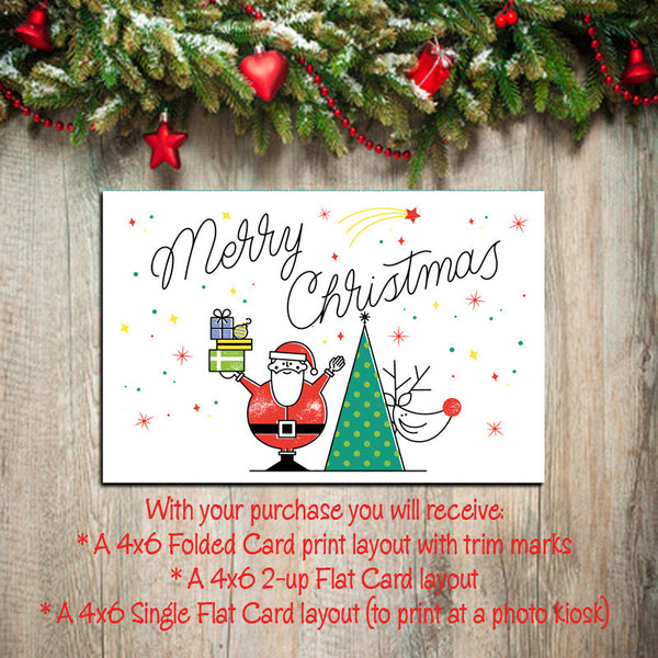 Digital Printable CHRISTMAS CARDS, DIY Instant Download, You Print, Santa & Reindeer - J & S Graphics