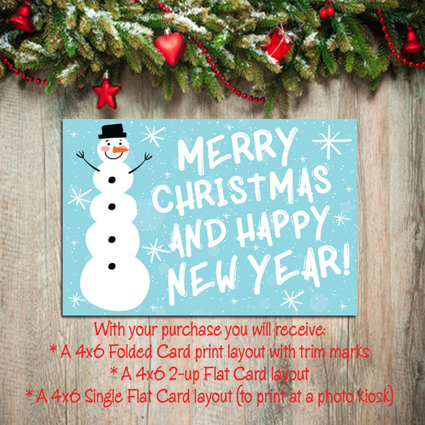 Digital Printable CHRISTMAS CARDS, DIY Instant Download, Snowman Design You Print - J & S Graphics