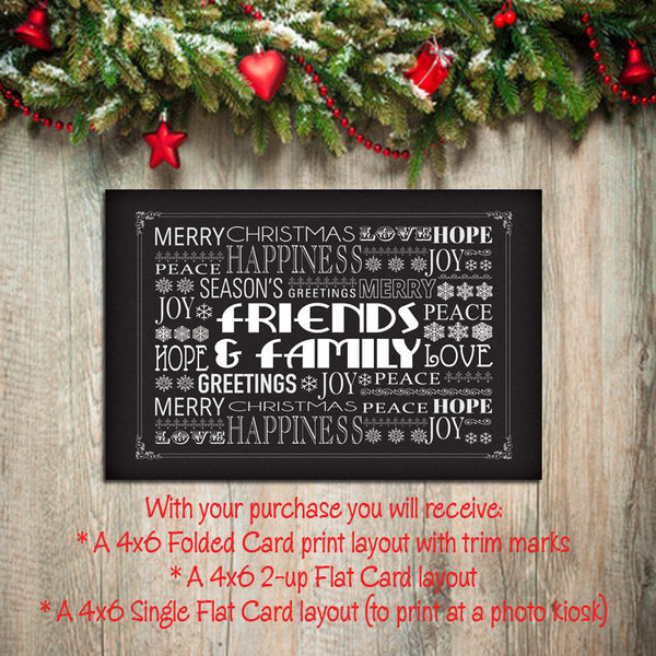 Digital Printable CHRISTMAS CARDS, DIY Instant Download, You Print, Chalkboard design - J & S Graphics