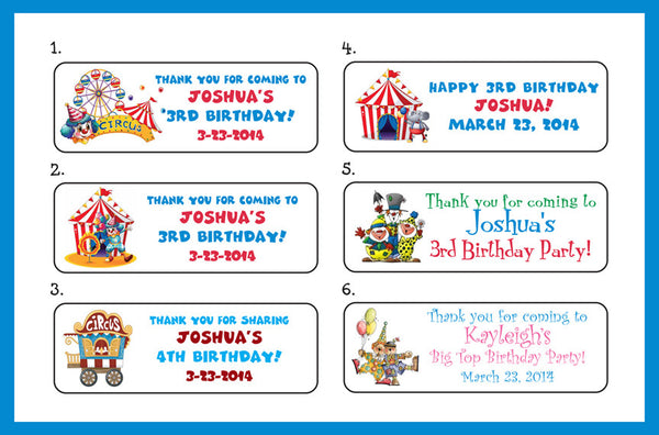 Personalized CIRCUS themed Birthday Party Labels for Mini Bubbles, Favors or Address Labels - J & S Graphics