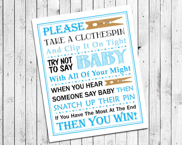 Baby Shower Game Blue Clothespin Game Printable, Instant Download, Baby Sprinkle Game, Blue Design 8x10 - J & S Graphics