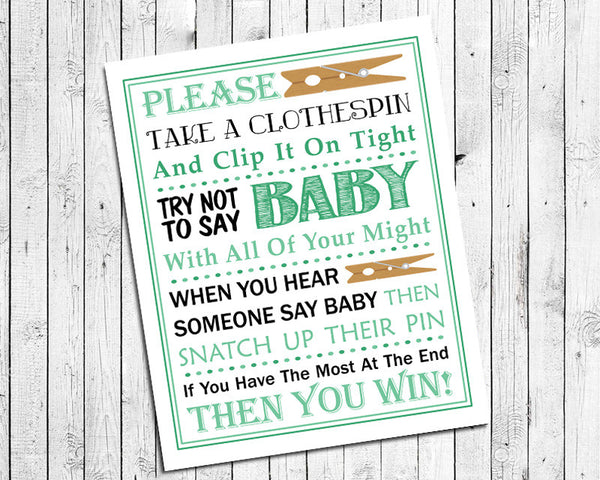 Mint Green Clothespin Game Printable For Baby Shower   Instant Download   Baby  Shower Game   Baby Sprinkle Game   Party Game   Mint Green Design 8x10