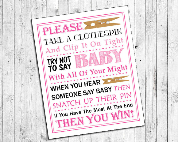 Pink Clothespin Game Printable for Baby Shower - Instant Download - Baby Shower Game Print - J & S Graphics