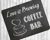 Rustic Look COFFEE BAR SIGN 8x10 Wedding or Shower Decor Print - J & S Graphics