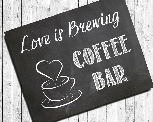 Rustic Look COFFEE BAR SIGN 8x10 Wedding or Shower Decor ...