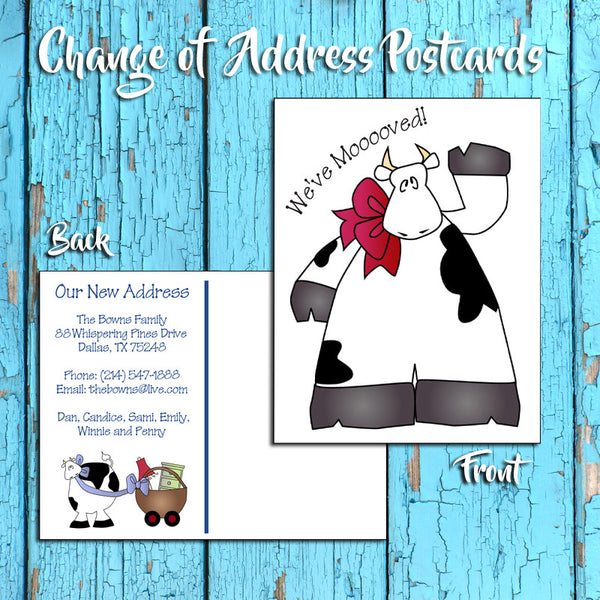 Personalized Change of Address Postcard - Cow Design - Printed Option - We've Moooooved! - J & S Graphics