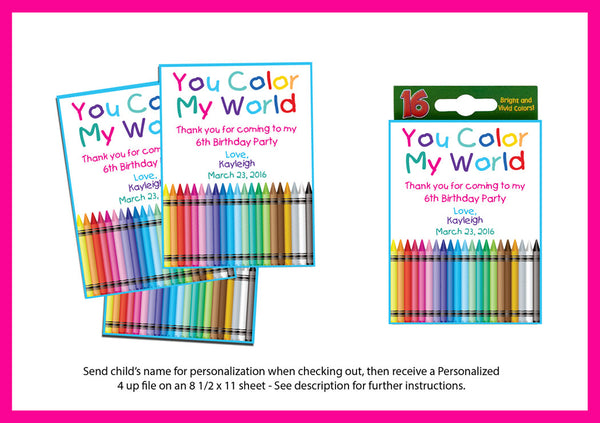 Birthday Party PRINTABLE PERSONALIZED Crayon Birthday Party Cards Girl or Boy Party Favor Labels - I Personalize and You Print - 4 per sheet - J & S Graphics