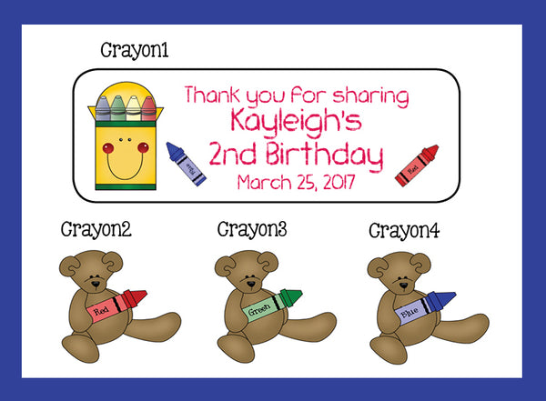 Personalized CRAYON BIRTHDAY Party Favor Labels, Return Address Labels, Crayon Teddy
