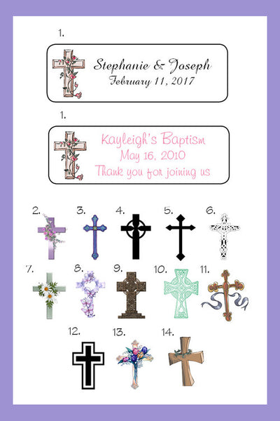 Personalized Religious Crosses Labels for Mini Bubbles, Favors or Address Labels - J & S Graphics