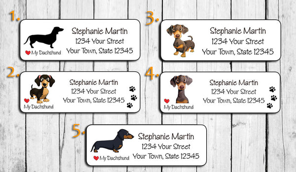 Personalized Dachshund Return Address Labels, I Love my Dachshund, Dog Labels - J & S Graphics