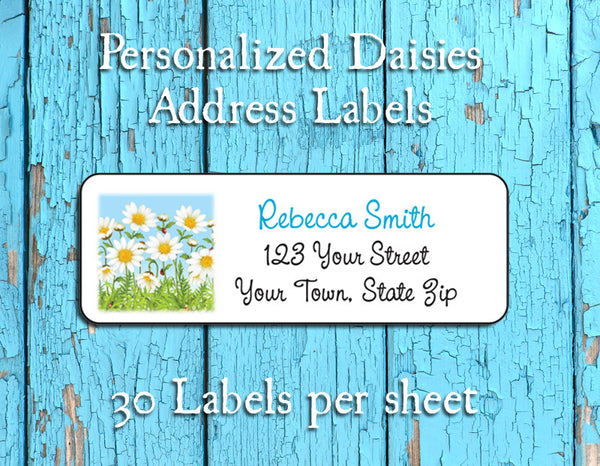 Personalized DAISIES Return ADDRESS Labels, Daisy Labels - J & S Graphics