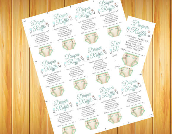 DIAPER RAFFLE TICKETS Baby Shower Invitation Inserts - Fun, Instant Download Digital File, Pink, Blue, Mint or Lavender - J & S Graphics