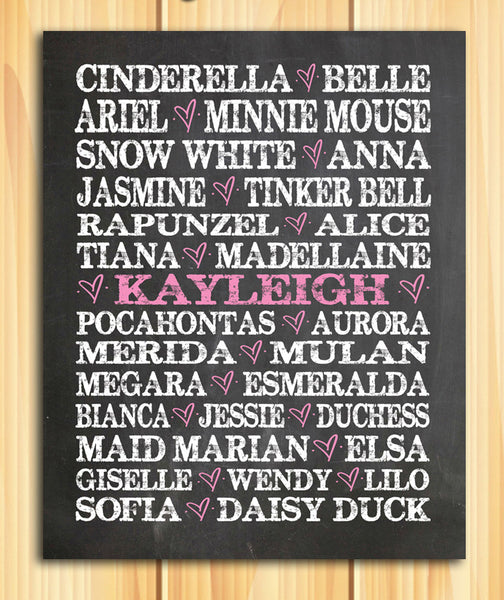 Famous Disney Princess PERSONALIZED PRINTABLE DOWNLOAD - J & S Graphics