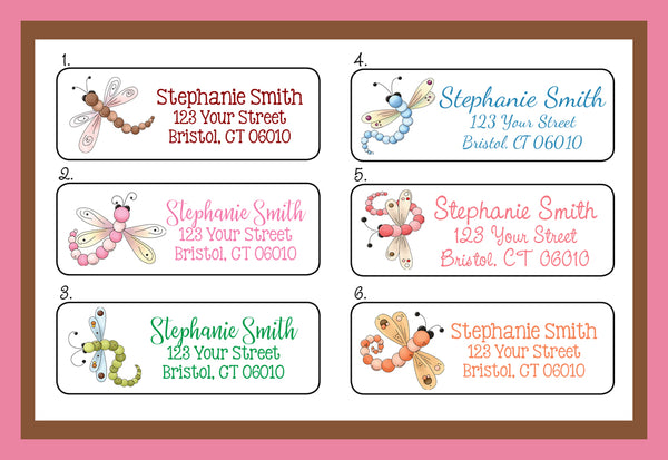 Personalized DRAGONFLY Designs Address Labels, Personalized Dragonflies Labels - J & S Graphics