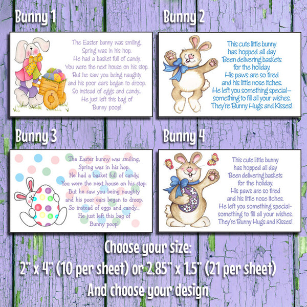 EASTER BUNNY HUGS & KISSES or EASTER BUNNY POOP Goody Bag Tag Labels - J & S Graphics