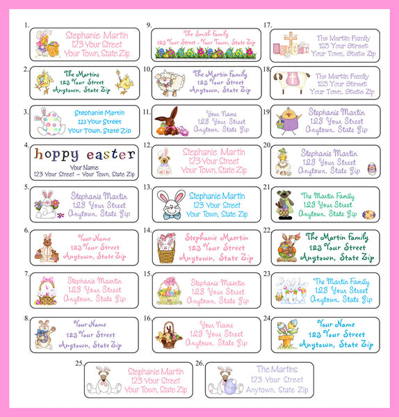 Personalized Easter Address Labels Easter Bunny, Eggs, Chicks Return Address - J & S Graphics