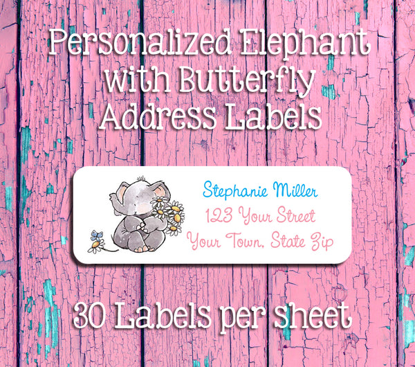 Personalized Elephant with Daisies and Butterfly Return ADDRESS Labels - J & S Graphics
