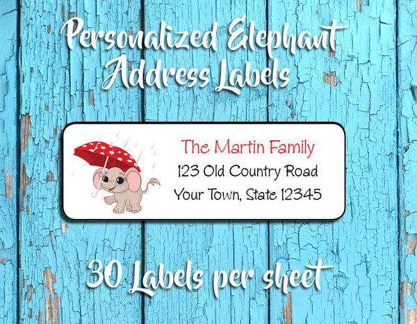 Personalized ELEPHANT with UMBRELLA in the Rain Design Return ADDRESS Labels