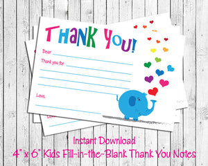 image relating to Fill in the Blank Thank You Cards Printable identified as Childrens THANK On your own Observe Playing cards, Electronic Printable, ELEPHANT with HEARTS