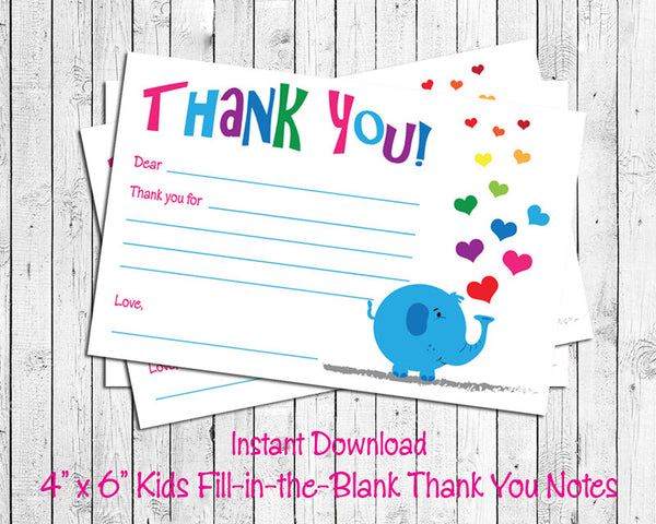 Children's THANK YOU Note CARDS, Digital Printable, ELEPHANT with HEARTS - J & S Graphics
