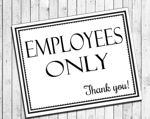 graphic relating to Printable Employees Only Sign identified as Printable Staff Simply just Immediate Obtain 8x10 Indication for