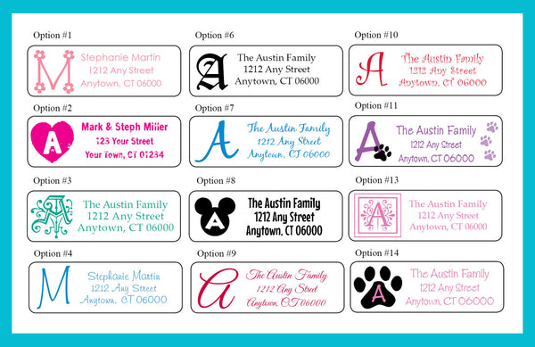 Personalized Monogram Return ADDRESS Labels with family name - J & S Graphics