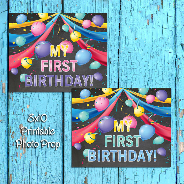 My First BIRTHDAY Photo Prop, 8x10 Baby's First BIRTHDAY INSTANT DOWNLOAD