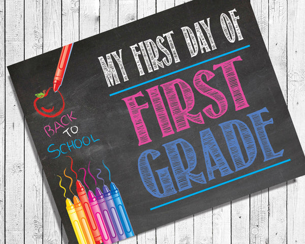 First Day of School, ALL GRADES Digital Photo Prop, 8x10 Printable Art, Back to School, INSTANT Download, Faux Chalkboard - J & S Graphics