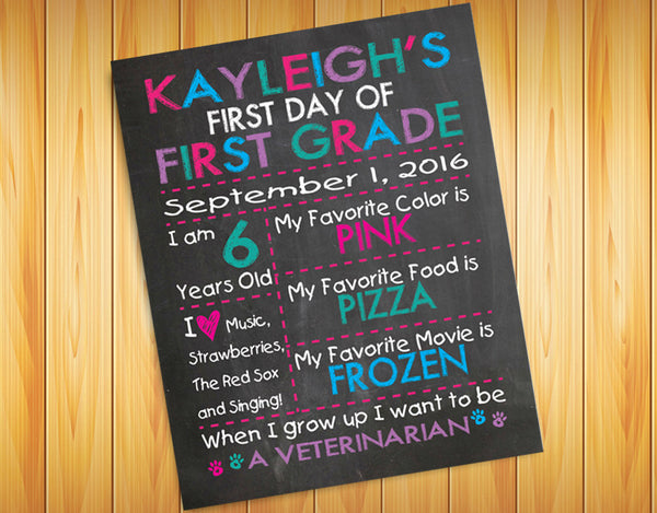 First Day of School or Birthday PERSONALIZED 8x10 Photo Prop PRINT - J & S Graphics