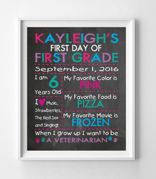 First Day of School or Birthday PERSONALIZED 8x10 PRINT - J & S Graphics