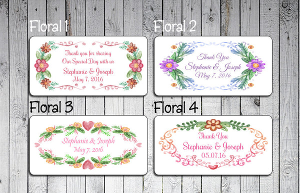 "Personalized WEDDING Favor LABELS 2"" x 4"", Floral Design Labels - J & S Graphics"