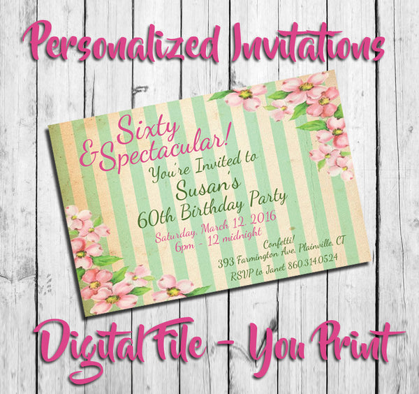 Printable Striped Floral Birthday Invitation, Personalized Peach Blossoms - DIGITAL FILE - J & S Graphics