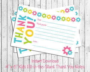 photo relating to Note Cards Printable named Childrens THANK Your self Be aware Playing cards, Electronic Printable, Lovely Bouquets