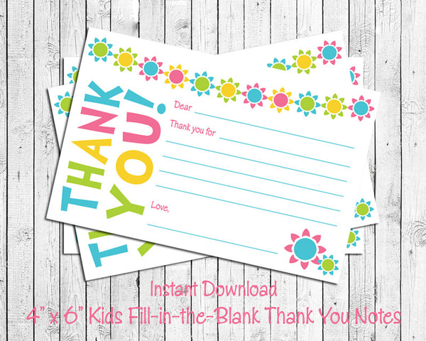 Children's THANK YOU Note CARDS, Digital Printable, Cute Flowers - J & S Graphics