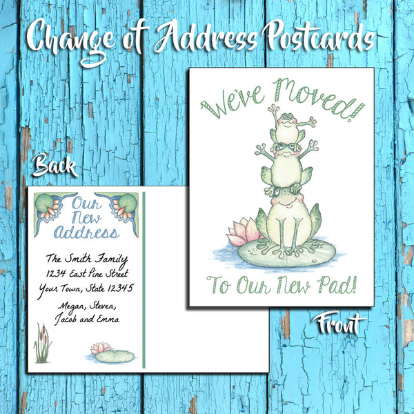 Personalized Change of Address Postcard - Frogs Design - Printed Option - New Pad 1 - J & S Graphics