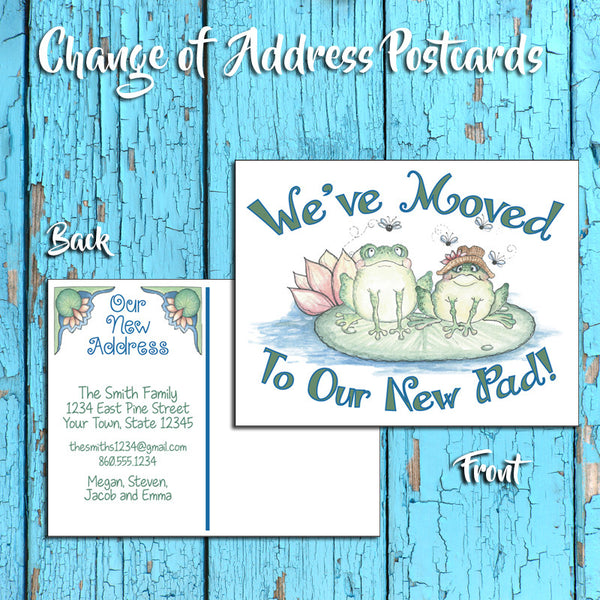 Personalized Change of Address Postcard - Frogs Design - Printed Option - New Pad 2 - J & S Graphics