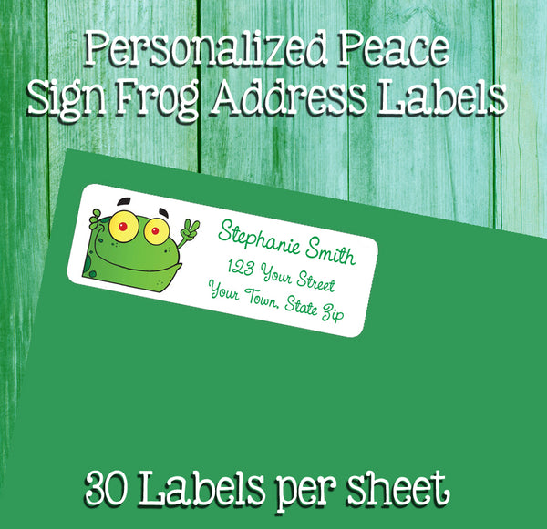 Personalized FROG PEACE Sign Return ADDRESS Labels - J & S Graphics