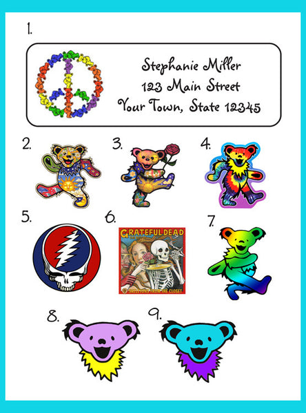 Personalized GRATEFUL DEAD Return ADDRESS Labels - J & S Graphics