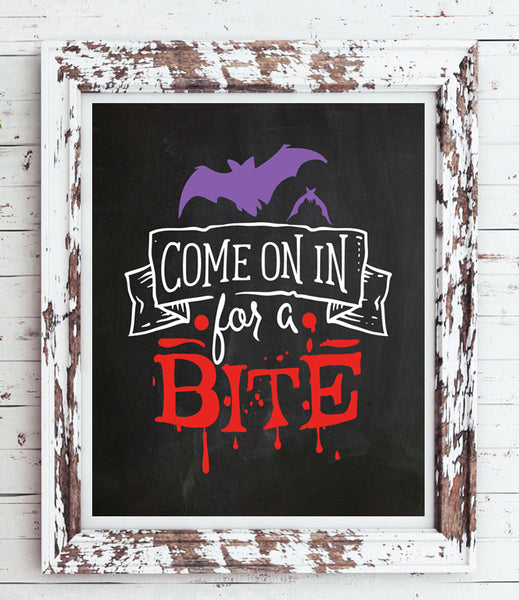 COME on in for a BITE Fun Halloween Decor Design 8x10 Typography Art Print - NO FRAME - J & S Graphics