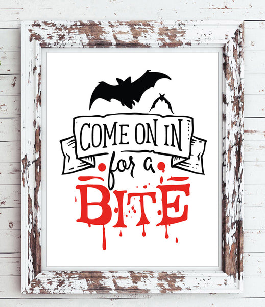 COME on in for a BITE Fun Halloween Decor Instant Download Art File - J & S Graphics