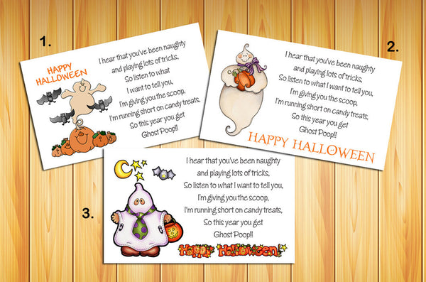 HALLOWEEN GHOST POOP Goody Bag Tag Labels - Kids Love them - J & S Graphics